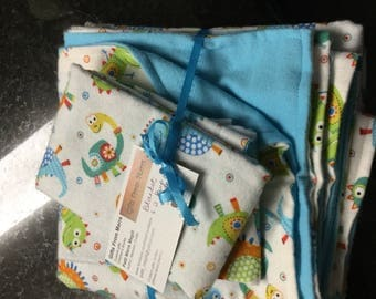 Baby blanket with two matching burp cloths