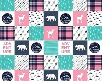 Baby Girl Quilt, Woodland Minky Quilt, Baby Girl Blanket, Bear Adventure Fawn Arrow Plaid Teal Navy Pink, Patchwork Quilt, Girl Crib Bedding