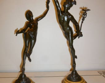 Tall pair of bronze statue marble base MERCURY and FORTUNE 1850s