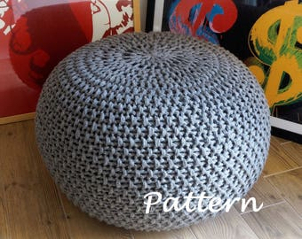 KNITTING PATTERN Knitted Pouf Pattern Poof Knitting Ottoman Footstool Home  Decor Pillow Bean Bag, Pouffe