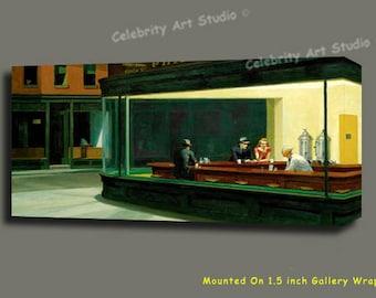 "Edward Hopper Night Hawks Art W Gallery Wrap Ready To Hang Up To Size 36X18X1.5"""