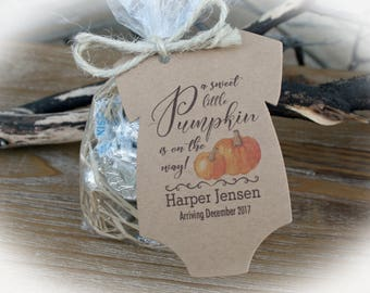 Little Pumpkin Baby Shower Favor | Fall Baby Shower Favor-24-102 Tags only OR DIY Bags/ Tags w/twine- Baby Shower-lil Pumpkin Baby-Oft-pump1