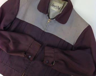 1950's Gabardine RICKY Jacket / TWO-TONE Panels / Flecked Check / Sun-fade / Men's Size 42 Reg