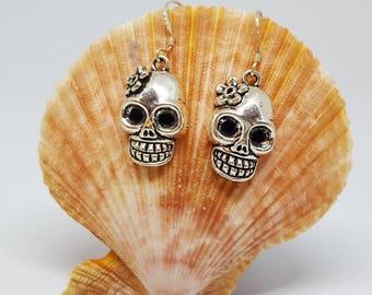 Sugar Skull and Flower Earrings