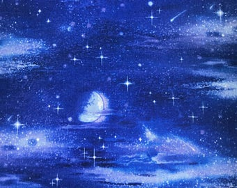 Night sky fabric etsy for Night sky print fabric