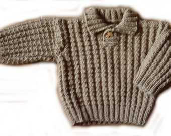 Light brown fancy stitch sweater - 6 months