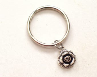 Silver Floral Keychain, Rose Keychain, Floral Key Ring, Silver Rose Keychain, Antiqued Silver Rose, Flower Key Chain, Gift for Her
