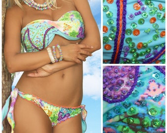 Strapless Bikini, Bandeau Bikini, Cute Bikini,Bandeau swimsuit, aqua bikini Beaded Bikini, Sexy Bikini, Cheeky Bikini Floridita Key Largo