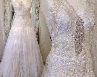 Wedding dress ethereal white,bridal gown lace,wedding dress corset back, antique French lace, couture wedding dress,rawrags,Danish