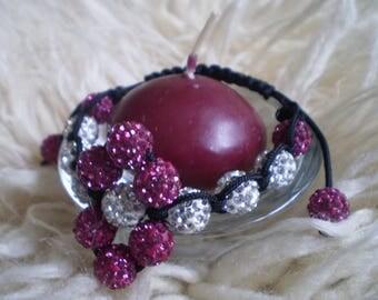 Discoball shamballa bracelet Hexagon head shamballa bracelet  Glossy macrame bracelet Radiant bracelet Elegant gift for women