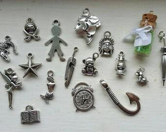 Peter Pan Charm Set 17 Piece Tibetan Style Silver