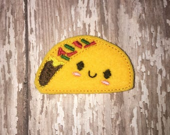 Set of 4 Taco Felties Mexican Food Tacos Feltie Felt Embellishment Bow! Birthday Party Oversized Large Oversize Felties Planner Clip