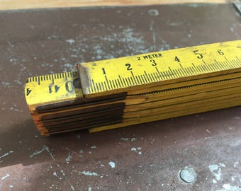 Vintage ruler wooden folding ruler metric Germany measuring ruler 2 meters old style yellow birchwood Ref:16