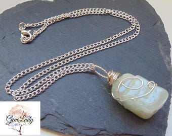 Aquamarine Raw Wire Wrapped Silver Necklace ~ Gemstone Crystal Healing ~ Hand Crafted Ooak