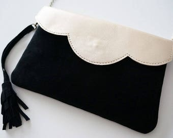 """""""Mila"""" Mini wallet with two-tone gold and black leather with chain"""