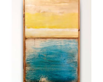 Reclaimed wood wall art,wood art,wood wall art,barn wood art,blue yellow abstract,wood art, abstract,Wall art,abstract painting,pallet art.