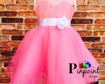 Pink Flower Girl Dress.     100% made from scratch!