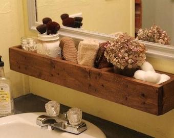 Bathroom Shelf Rustic Organizer Wood Storage Shelves Farmhouse Decor Home  Storage Spice Rack Kitchen Housewarming Gift