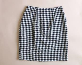 Black and White Patterned Pencil Skirt - Vintage