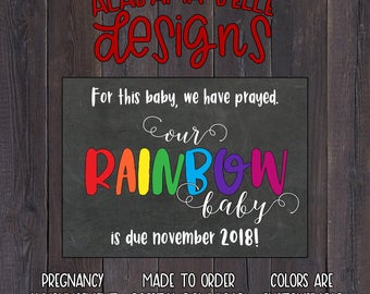Chalkboard Rainbow Baby - Pregnancy Announcement - Photo Prop