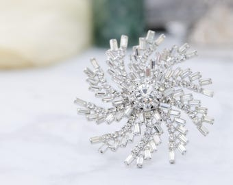 Vintage Rhinestone Brooch - Vintage Wedding Brooch Bouquet - Weiss Rhinestone Brooch - Gift For Her - Mad Men Fashion - Mid Century Jewelry
