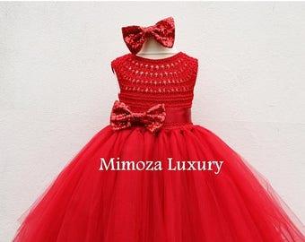 SALE Red Flower girl dress, red tutu dress, red bridesmaid dress, red princess dress, red crochet top tulle dress, red hand knit tutu dress