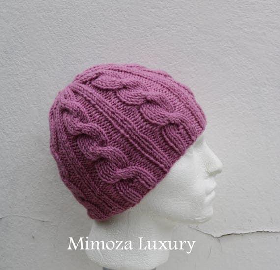 Dusky Pink Men's Beanie hat, Hand Knitted Hat in mauve rose beanie hat cap, knitted men's, women's beanie hat, winter beanie, rose ski hat