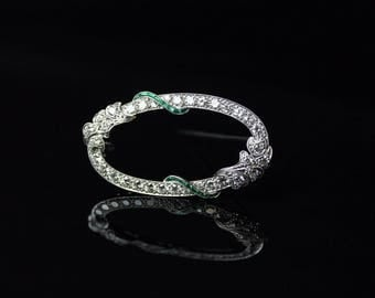 Gorgeous Diamond and Emerald Brooch in 14k White Gold