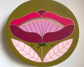 Flower Study #7/Small birch panel painting/large pink flower on olive green