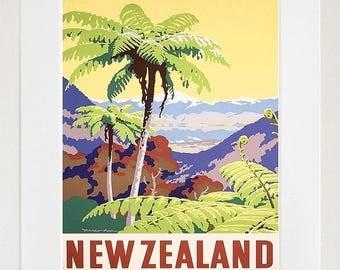Travel Poster New Zealand Gift Vintage Art Print (XR1462)