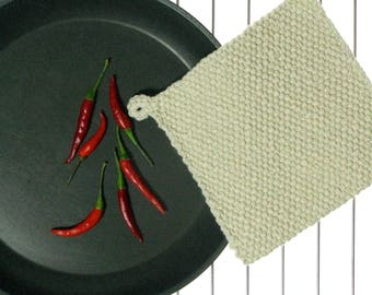 Pot Holder classic thick cotton old school hand-knit pot holder with hanging loop easy washing.