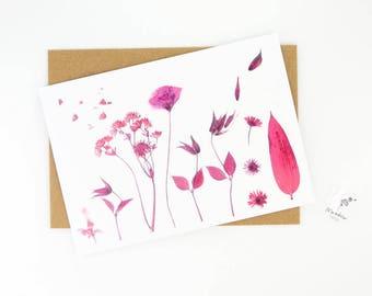 Printed floral card, pink flower greeting card