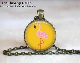 RETRO YELLOW FLAMINGO Pendant •  Vintage Flamingo •  Topical Bird •  Florida Flamingo • Gift Under 20 • Made in Australia (P1279)
