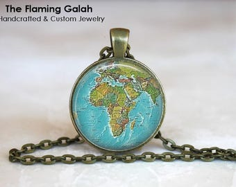 AFRICA Map Pendant • Map Of Africa • Vintage African Map • Old Map of Africa • African Continent • Gift Under 20 • Made in Australia (P1431)
