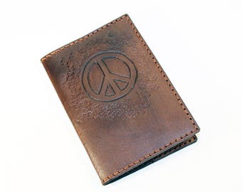 Leather Passport Cover With Peace Sign! Leather Passport Holder! Leather Travel Passport Cover! Brown Handmade Passport Cover! SALE