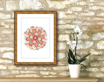 "Orange mandala printable 7"" x 7"" geometric roundie, emotional digital art print, fall gifts, spiritual yoga wall, home decoration online."