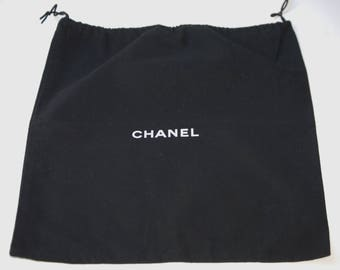 Authentic Vintage CHANEL Black Signature Drawstring Dust Bag / Sleeper Bag Handbag, Purse Great for Crafting!