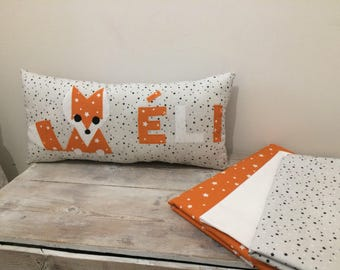 Rectangular cushion Fox (gray and orange)