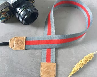 DSLR camera strap, Gray and Red Camera Strap, leather camera Strap ,Gift for him