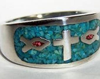 Christian Ring With Cross & Fish