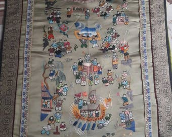 Antique chinese silk hand embroidered   wall hanging old 100 children dragon festival  textile beautiful gift