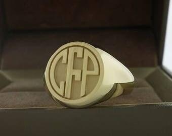 Monogram ring mens ring signet ring