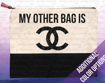 My Other Bag Is Chanel Two Tone Makeup/Travel Cosmetic Bag with Black Black Canvas Trim or Pink Faux Leather Trim, Silver, Gold or Black