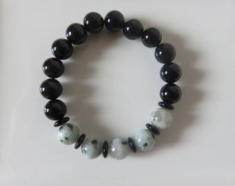 10 mm Black Agate and Kiwi Jasper Bracelet -- Stretch Bracelet -- Men's or  Women's Fashion Bracelet