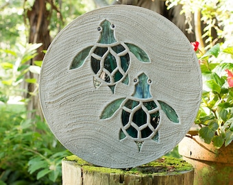 Baby Sea Turtles Hatchlings Stained Glass Stepping Stone #519
