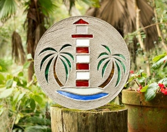 "Red & White Lighthouse Stepping Stone Large 18"" Diameter Made of Concrete and Stained Glass Perfect for Your Garden Patio or Back Yard #725"