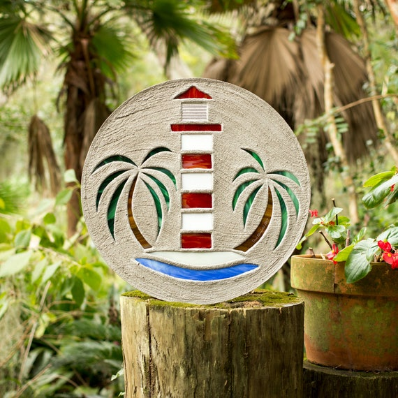 """Red & White Lighthouse Stepping Stone Large 18"""" Diameter Made of Concrete and Stained Glass Perfect for Your Garden Patio or Back Yard #725"""
