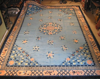 Traditional Chinese rug hand knotted wool new from China 10.2x14.2 blue #111254