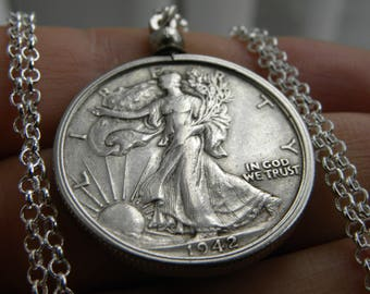 1942 authentic circulated old  silver walking liberty half dollar coin necklace pendant 16 or 18 or 20 or 24 or 30 sterling silver chain