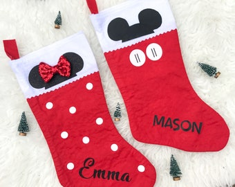 Minnie mouse stocking, disney christmas stocking